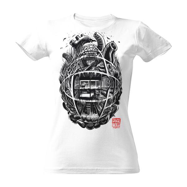4e18d7d0f71b Tričko s potlačou Industriální srdce - dámské triko bílé volné ...